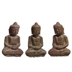 Set of Three Carved Stone Buddha Statues