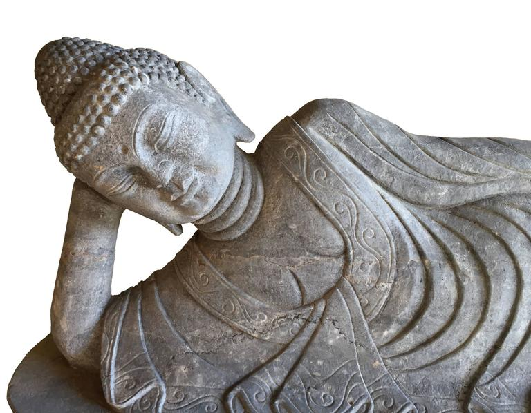 Reclining buddha stone garden statue for sale at stdibs