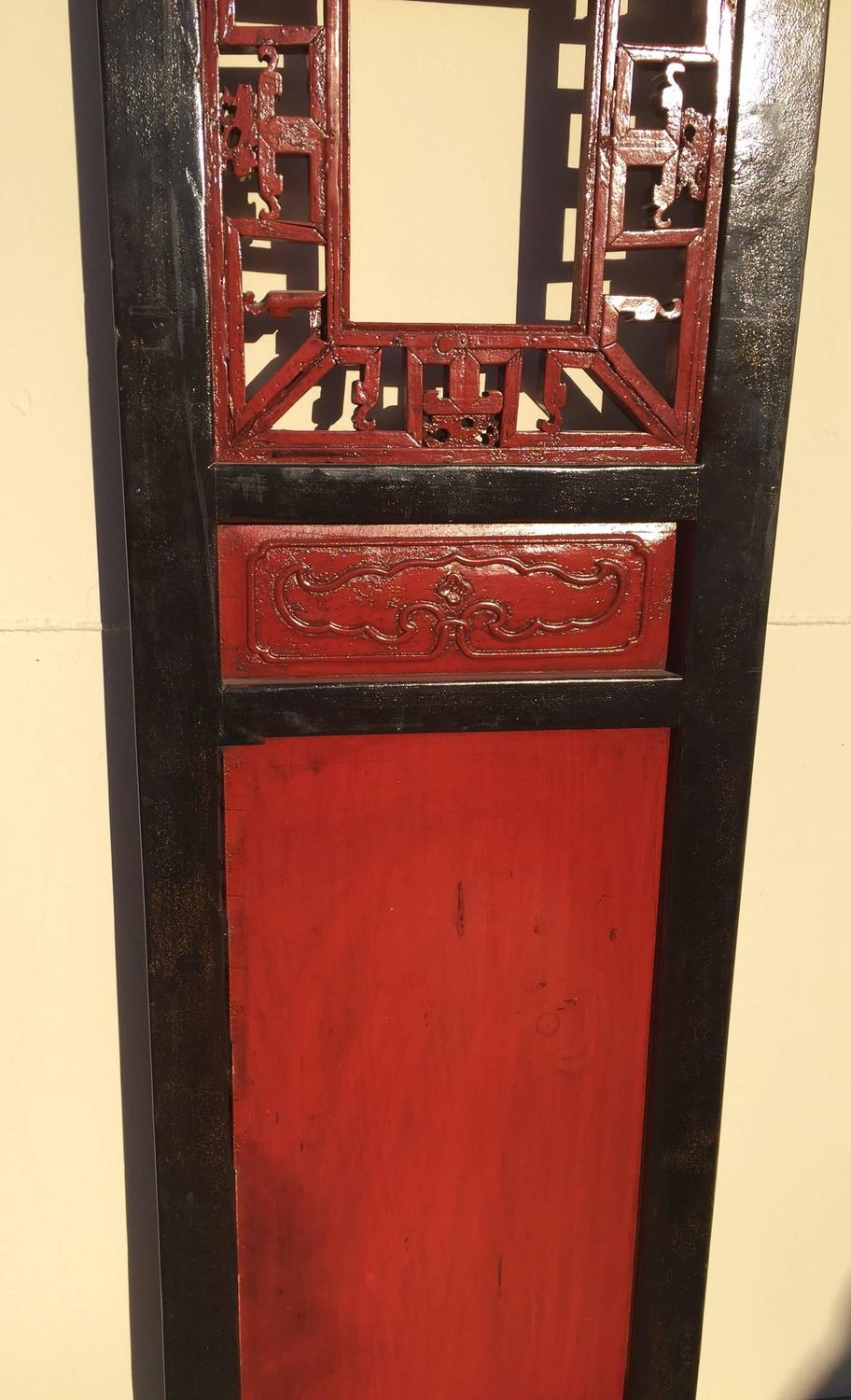 Set of Antique Four Red and Black Carved Door Panels at