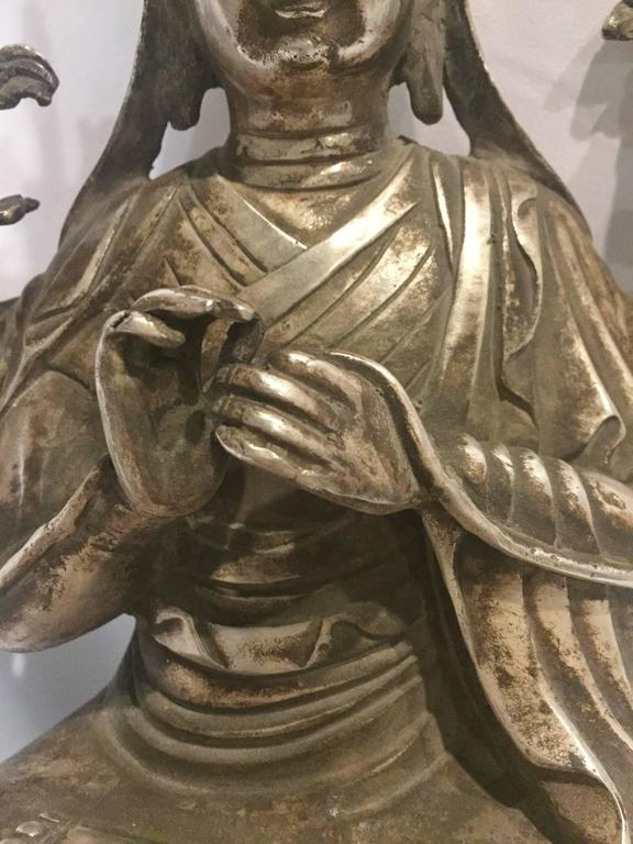Antique Silver Bronze Tibetan Teacher God Of Wisdom