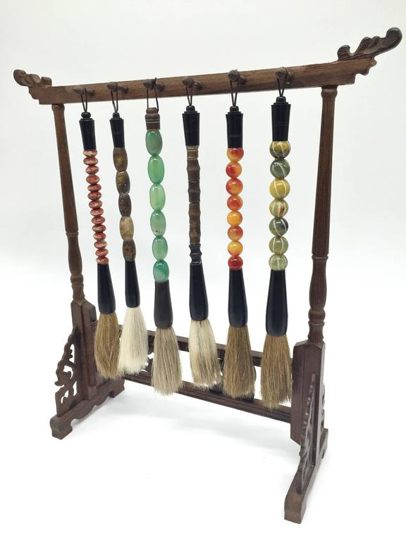 Set Of Six Calligraphy Brushes And Rosewood Stand For Sale