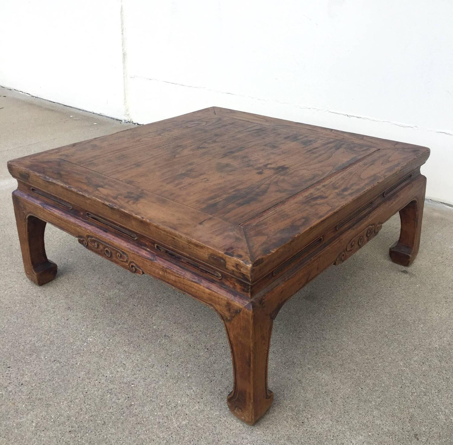 Table China: Antique Chinese Square Kang Table, Low Table For Sale At