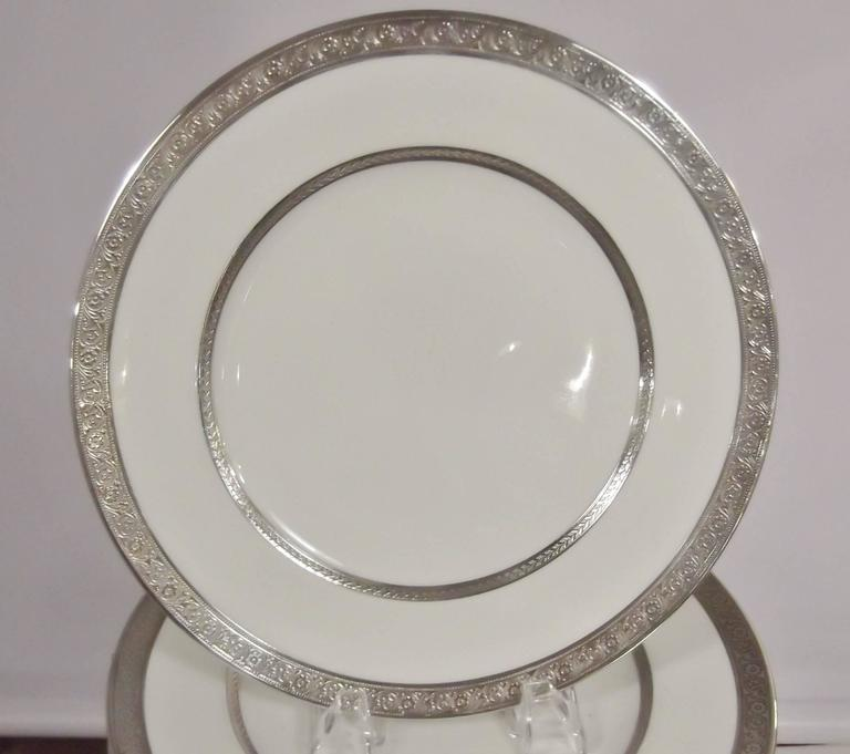 Set Of 12 Silver Overlay Service Dinner Plates For Sale At