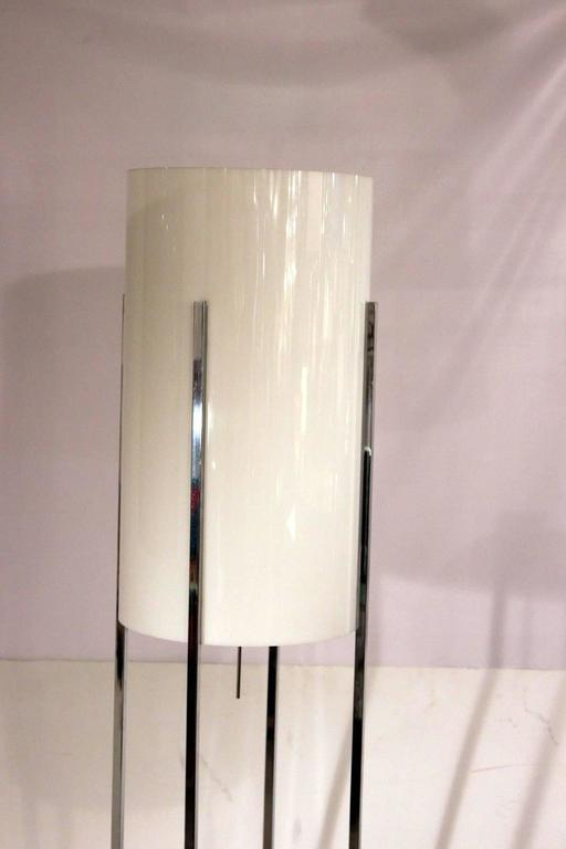 Chrome Base Floor Lamp With Lucite Cylinder Shade By