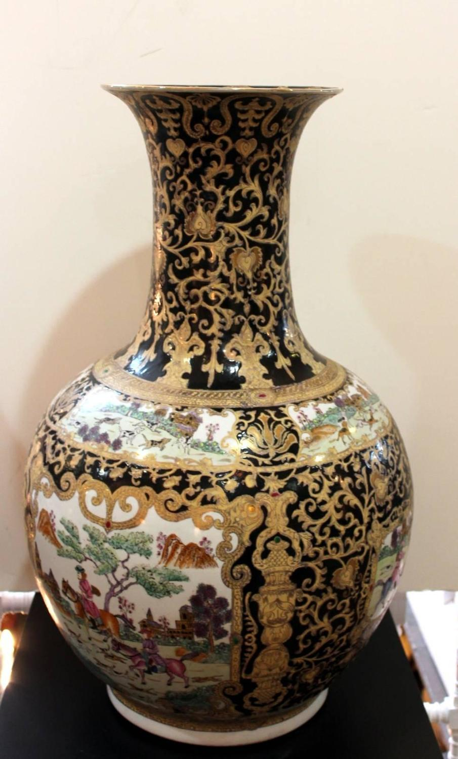 Large Pair Of Chinese Porcelain Bulbous Floor Vases For