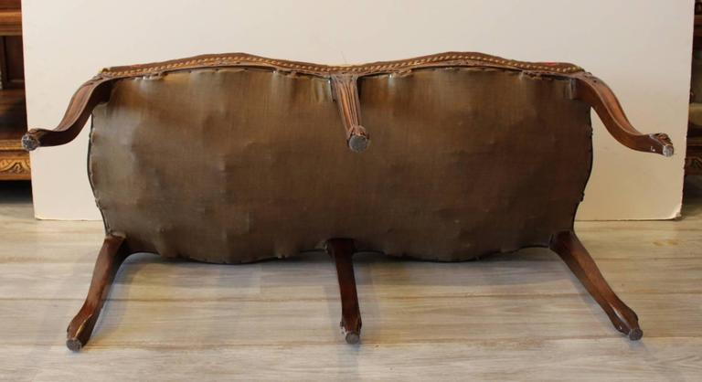 Carved walnut bench with needle point upholstery at stdibs