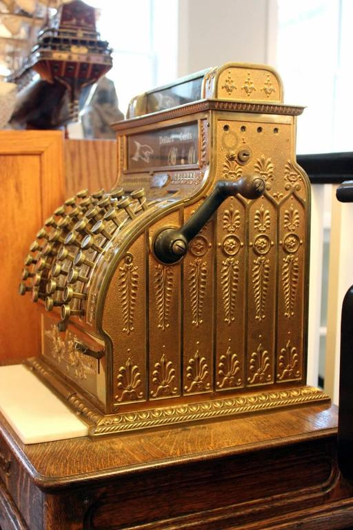 Antique Brass Cash Register By National Cash Register