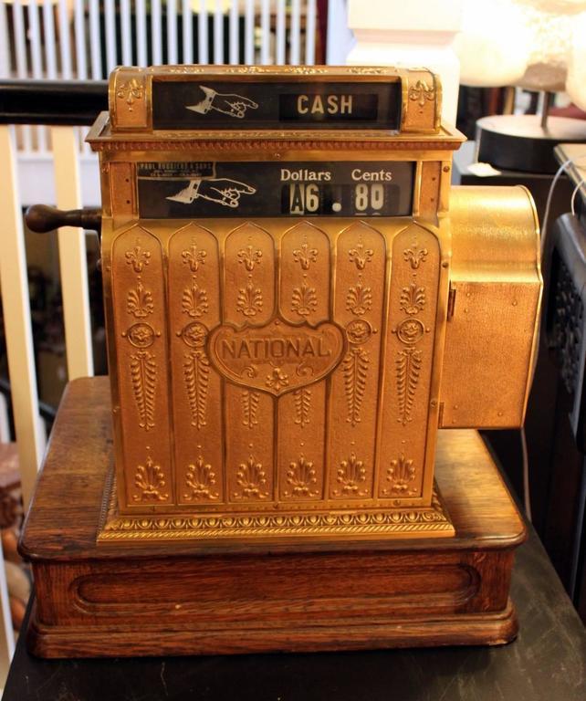 Antique Brass Cash Register By National Cash Register
