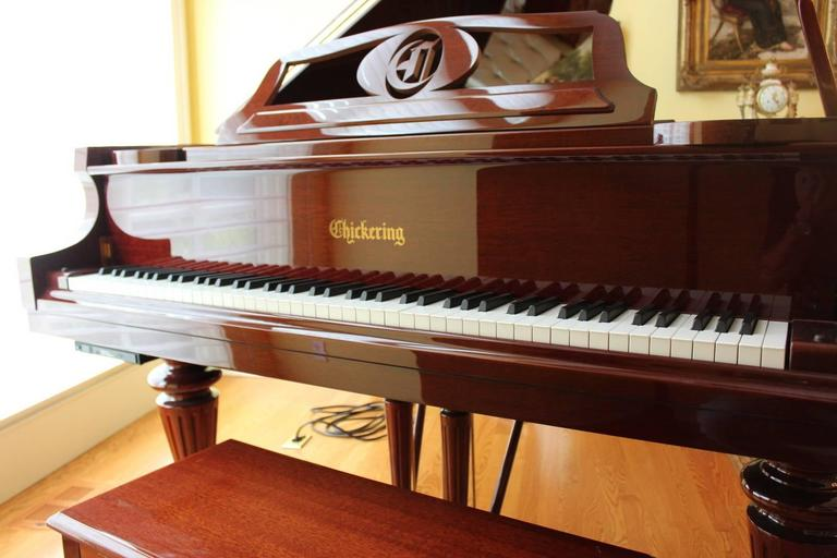 Louis XVI Style Mahogany Baby Grand Piano with Automatic Player 5