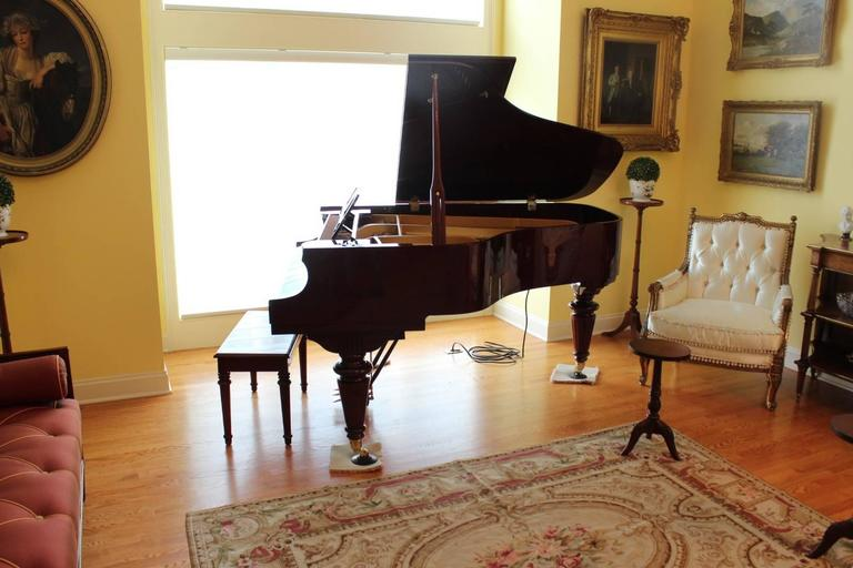 Louis XVI Style Mahogany Baby Grand Piano with Automatic Player In Excellent Condition For Sale In Lambertville, NJ