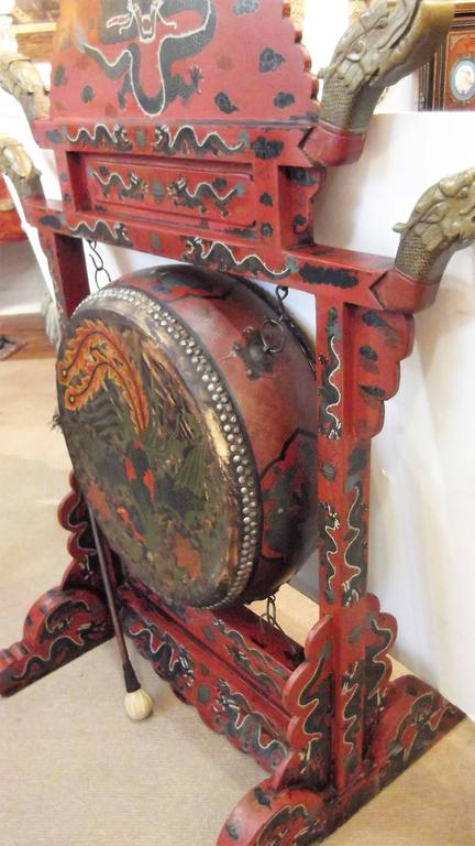 large antique chinese temple gong for sale at 1stdibs. Black Bedroom Furniture Sets. Home Design Ideas