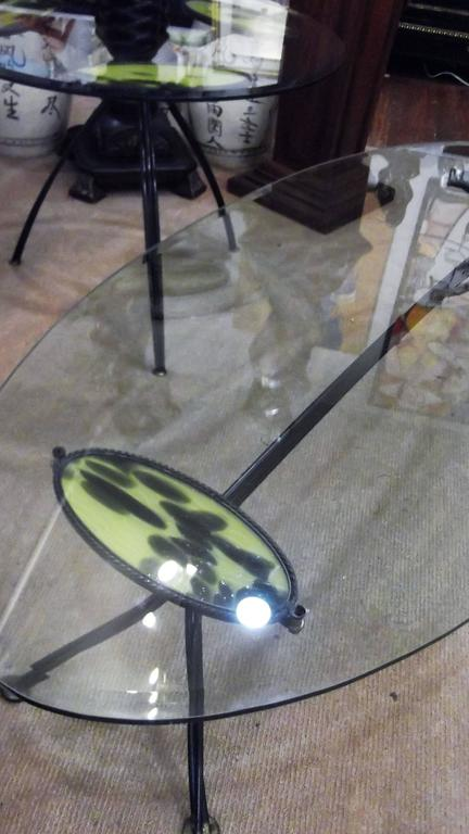 Set Of Two Mid Century American Iron And Glass Tables For