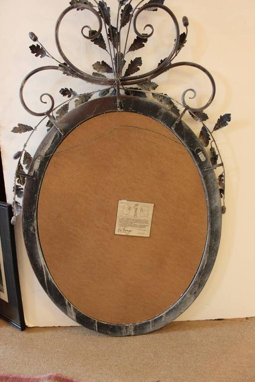 LaBarge Oval Adam Style Wood and Italian Metal Beveled Mirror For Sale 2