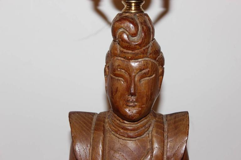 American Pair of James Mont Style Oriental Figure Lamps For Sale