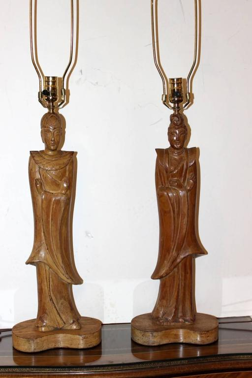 Pair of James Mont Style Oriental Figure Lamps In Excellent Condition For Sale In Lambertville, NJ