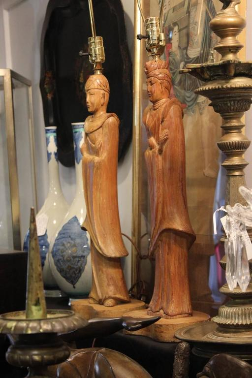 20th Century Pair of James Mont Style Oriental Figure Lamps For Sale