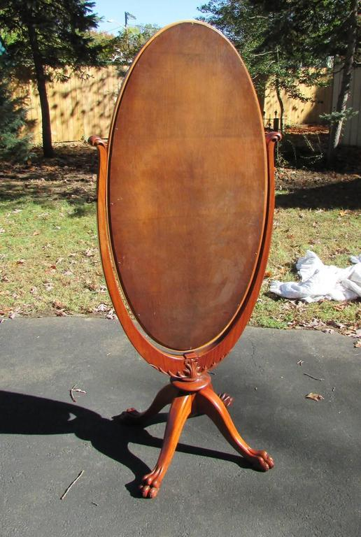Antique mahogany claw foot cheval mirror for sale at 1stdibs for 7 foot mirror