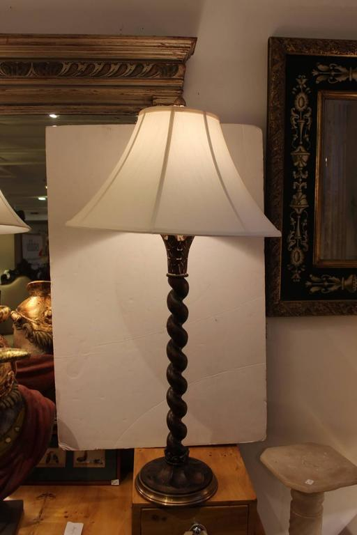 Pair Of Twisted Wood And Brass Chapman Table Lamps At 1stdibs