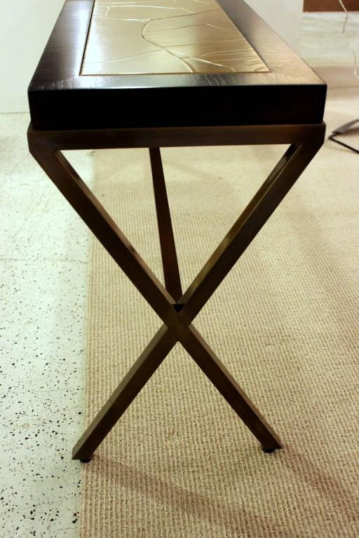 Chic Walnut and Brushed Brass Console Table with Crackled Parchment Top For Sale 1