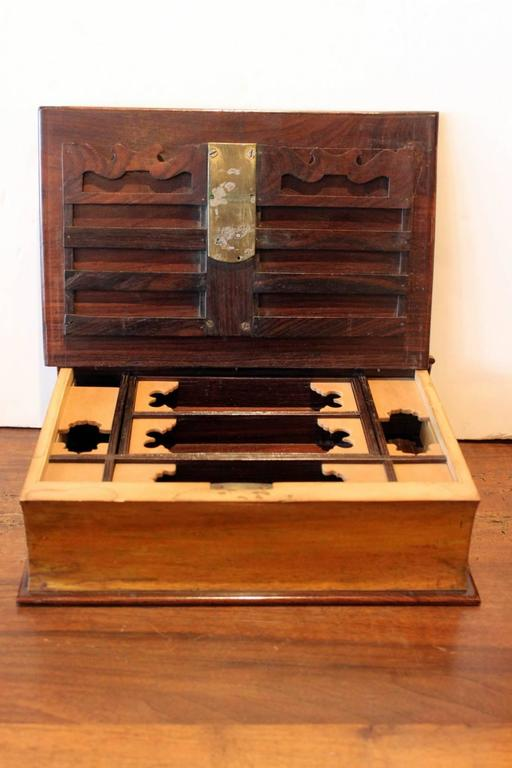 Antique Captain Hardcastle locking note book box, 19th century. The walnut book box with working key, Signed Captain Harcastle on the side. the interior is fitted with compartments of organization.