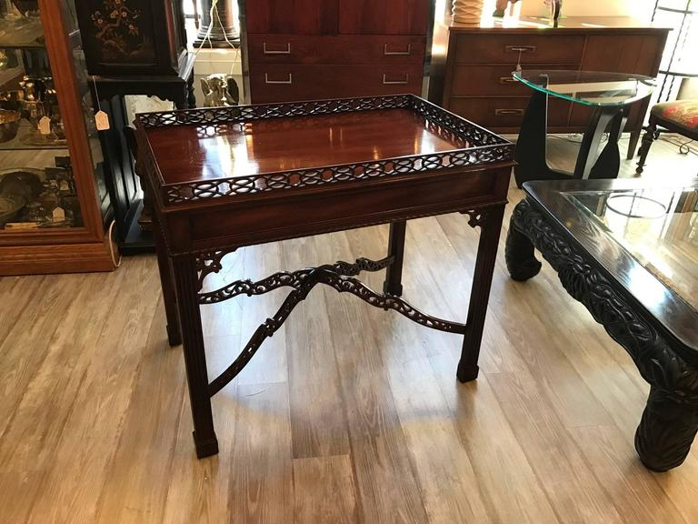 Merveilleux Chippendale Tea Table, With Its Asian Inspired Design And Ornamentation, Is  Made Of Solid