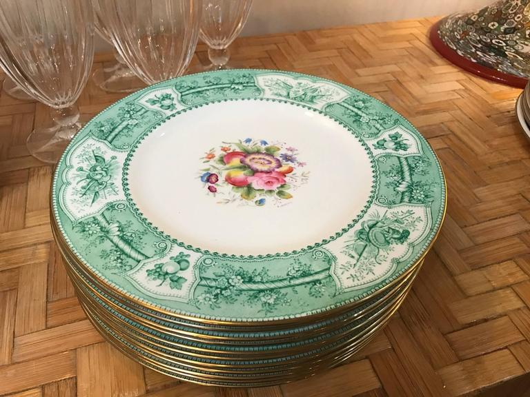 English Set of 12 Wedgwood Hand-Painted Service Plates Artist Signed For Sale