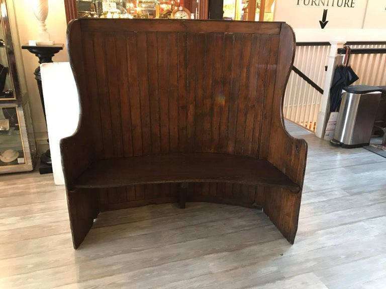 19th Century Pine Settle Bench For Sale 4
