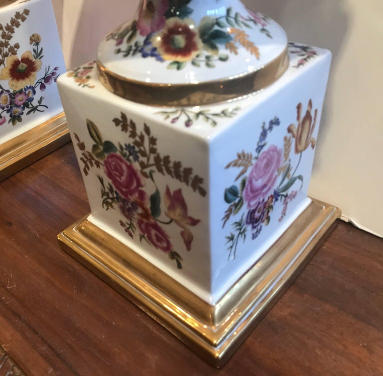 20th Century Large Pair of Hand-Painted Paris Style Porcelain Urns For Sale