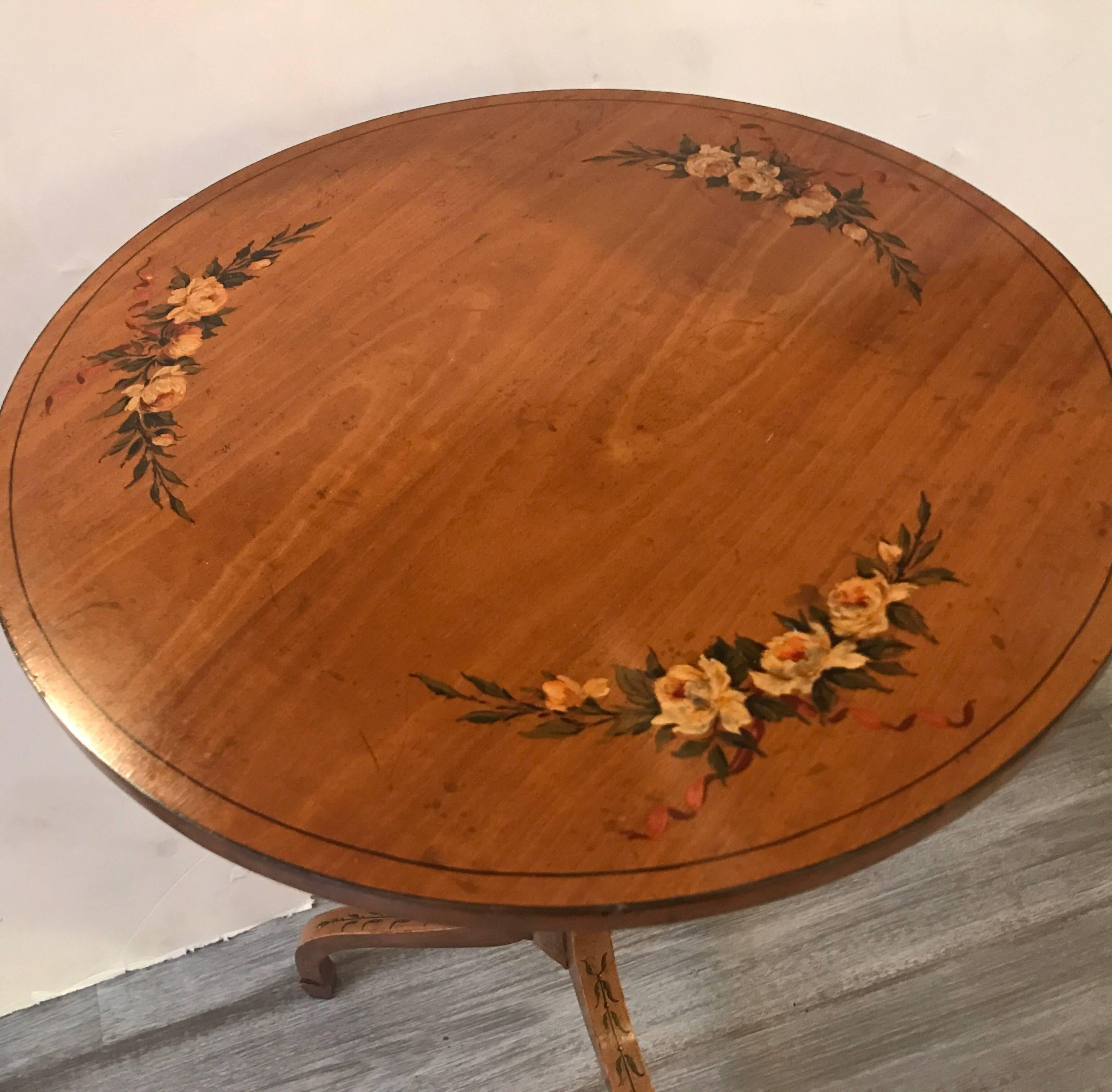 A Hand Painted Satinwood English Adams Style Side Table. A Perfect Smallish  Pull Up
