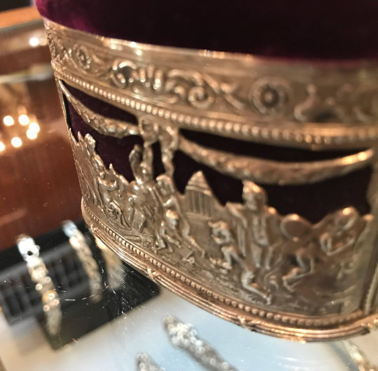 Late 19th century Continental silver trinket box with deep purple velvet top and lining. The piece is Austrian or German and marked with the 800 silver mark.