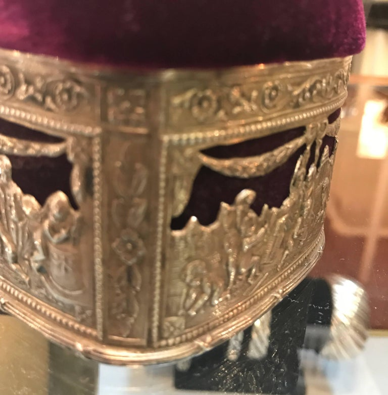 Continental Silver and Velvet Trinket Box For Sale 5