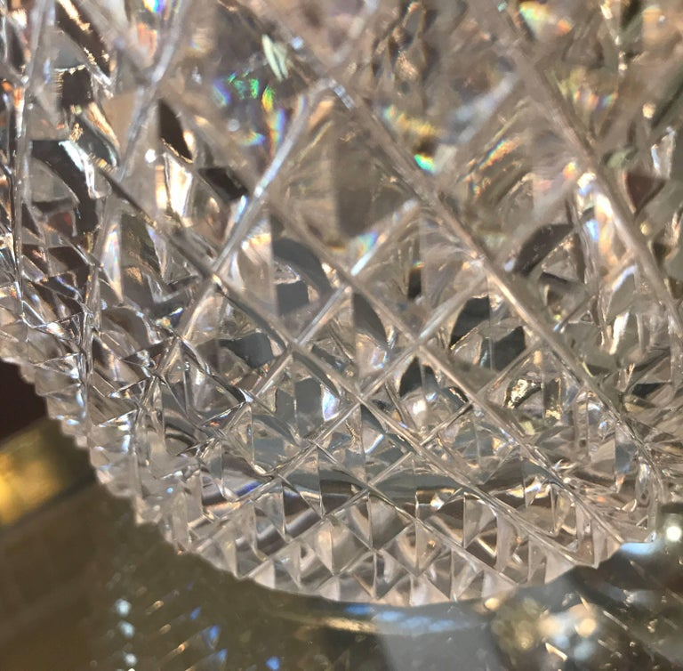 Late 19th Century Diamond Cut Crystal Vase For Sale At 1stdibs