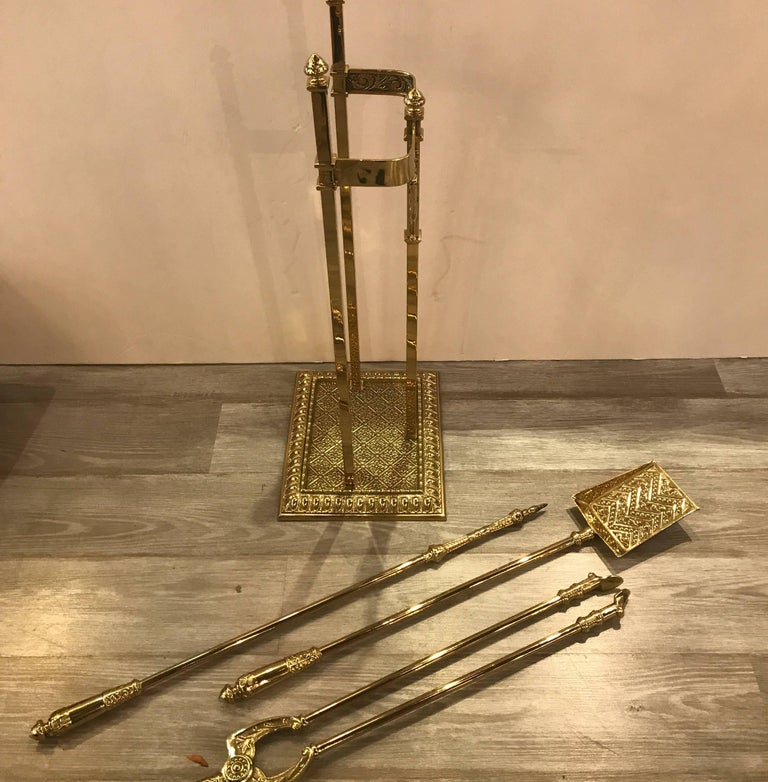 English Fireplace Stand with Tool Set For Sale 4