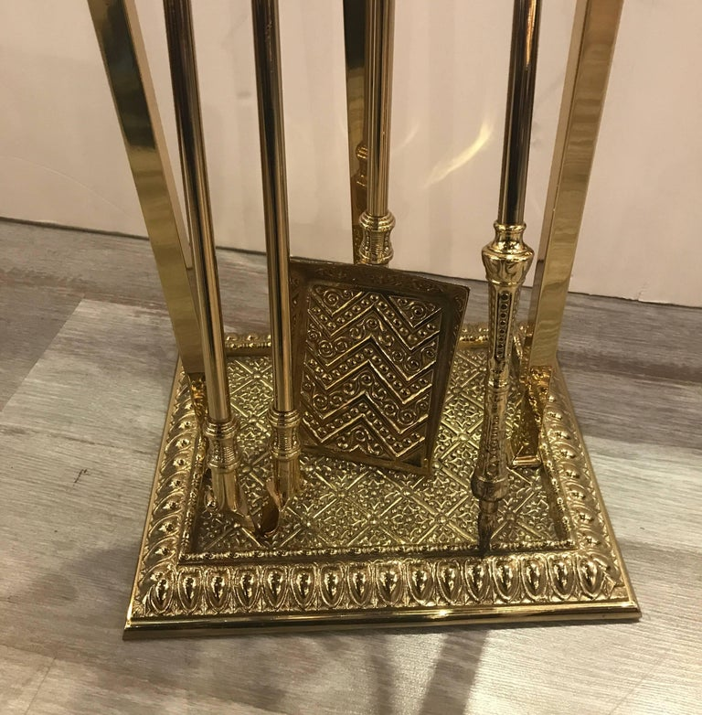 Renaissance English Fireplace Stand with Tool Set For Sale