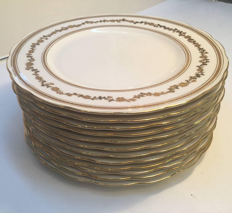 Gilt Set of 12 English Dinner Service Plates For Sale