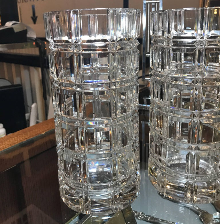 Pair Of Heavy Cut Crystal Cylinder Vases Circa 1950 At 1stdibs