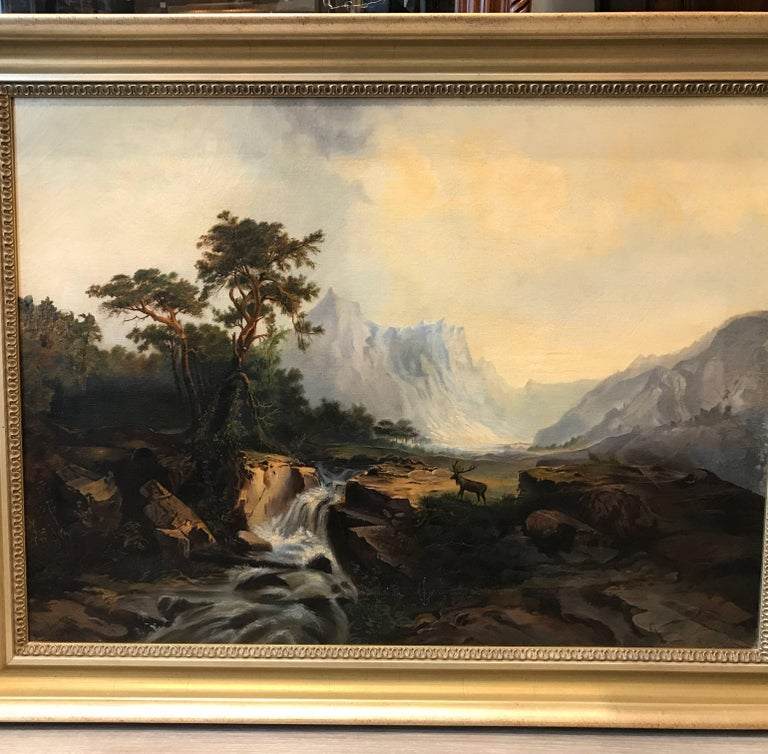 Late 19th Century Antique 19th Cent. European Oil Painting on Canvas Signed M. L. Tunner, 1872 For Sale