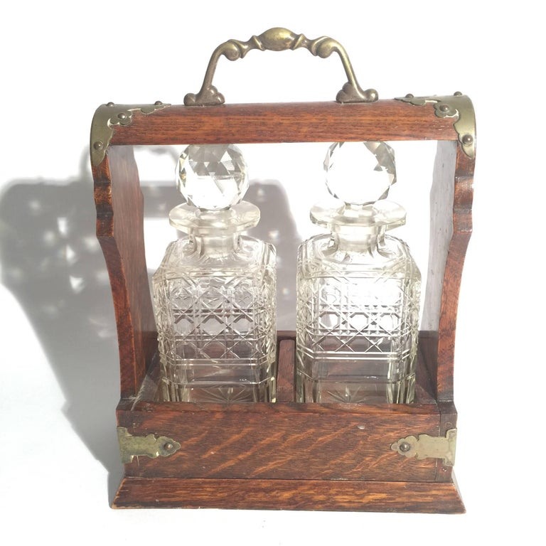 Victorian English Oak Tantalus with Two Cut Glass Decanters For Sale