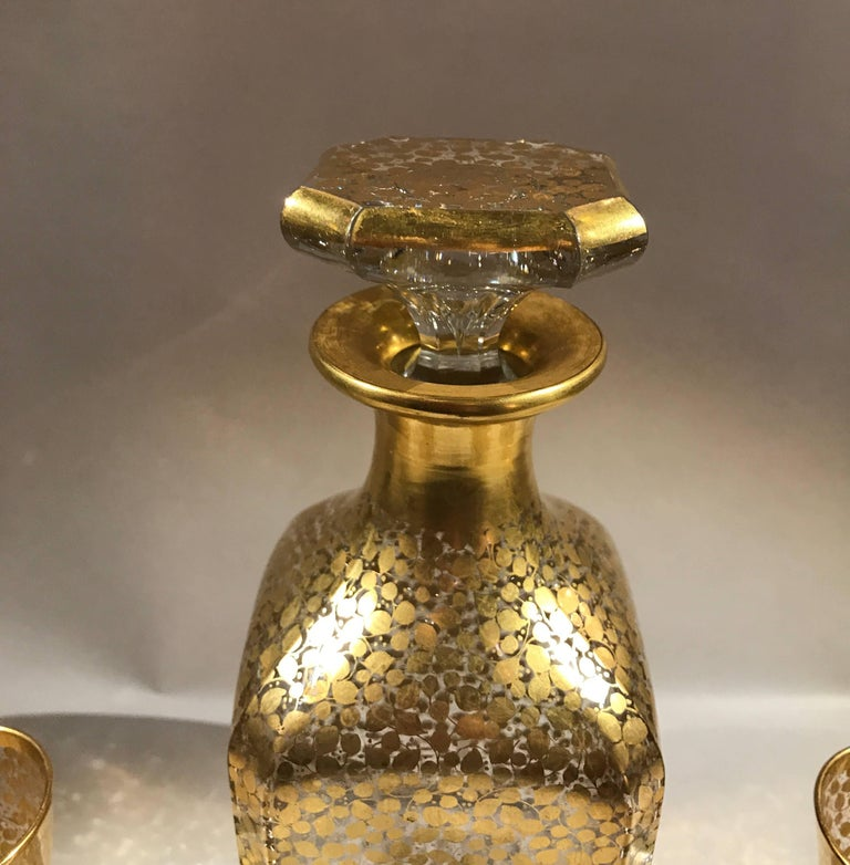 Late 19th Century Baccarat Hand Gilt Decanter with Glasses For Sale