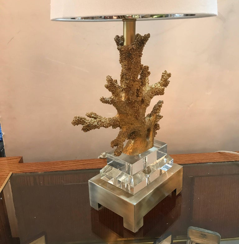 Unknown Pair of Gilt Faux Coral and Lucite Lamps For Sale