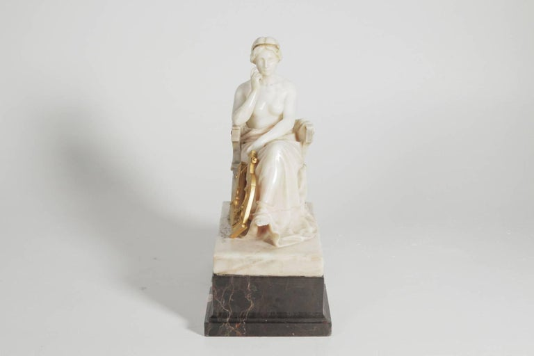 Neoclassical German Marble and Ormolu Sculpture of a Seated Muse with Harp In Excellent Condition For Sale In Lambertville, NJ