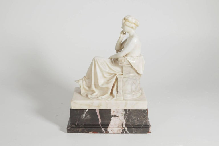 20th Century Neoclassical German Marble and Ormolu Sculpture of a Seated Muse with Harp For Sale