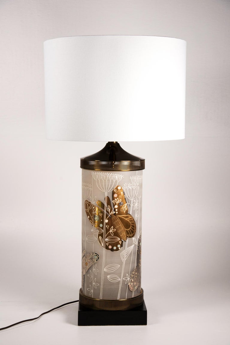 Mid-Century Modern Large Mid-Century Table Lamp Satin Glass with Hand-Painted Butterflies For Sale
