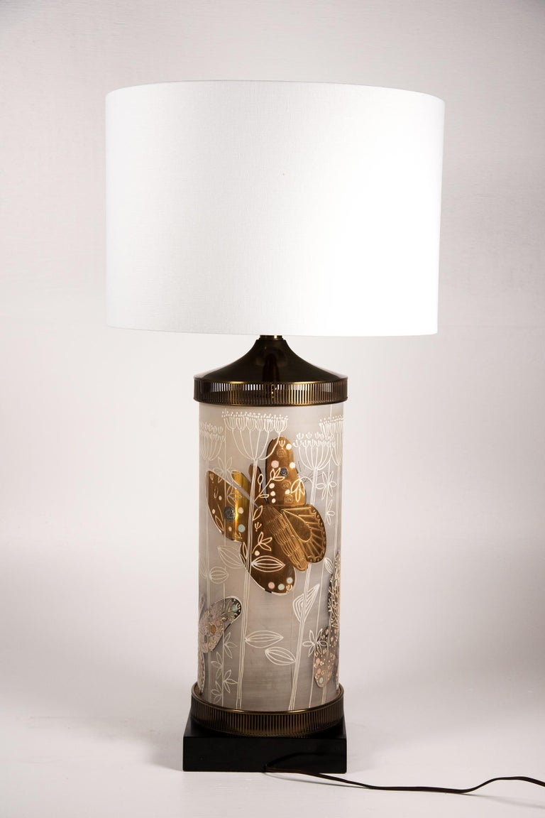 Large Mid-Century Table Lamp Satin Glass with Hand-Painted Butterflies For Sale 1