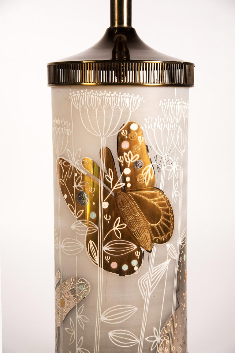 Large Mid-Century Table Lamp Satin Glass with Hand-Painted Butterflies For Sale 5