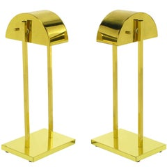 Pair of Kovacs Lighting Brass Demilune Shade Desk Lamps