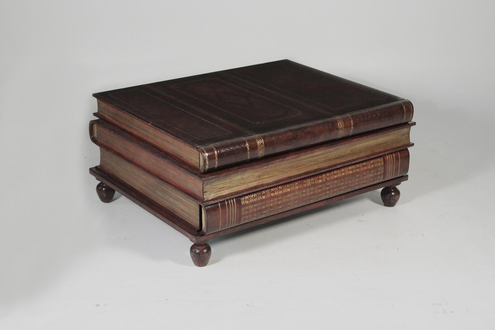 Maitland Smith Stack Book Coffee Table. The Leather Wrapped Surface With  Three Concealed Drawers