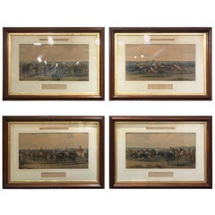 Majestic Set of Four English Hand Colored Framed Equestrian Engravings