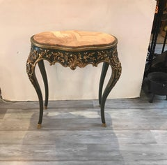 19th Century Elaborate Parcel Gilt High Relief Side Table With Agate Top