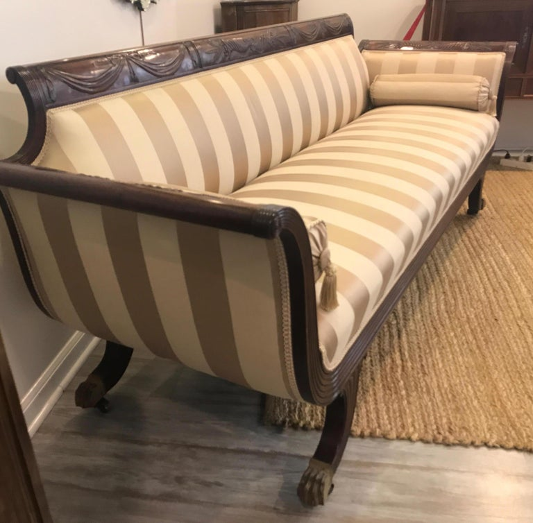 American Duncan Phyfe Style Mahogany Sofa For Sale